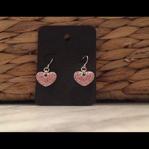 Pink heart silver dangly earrings
